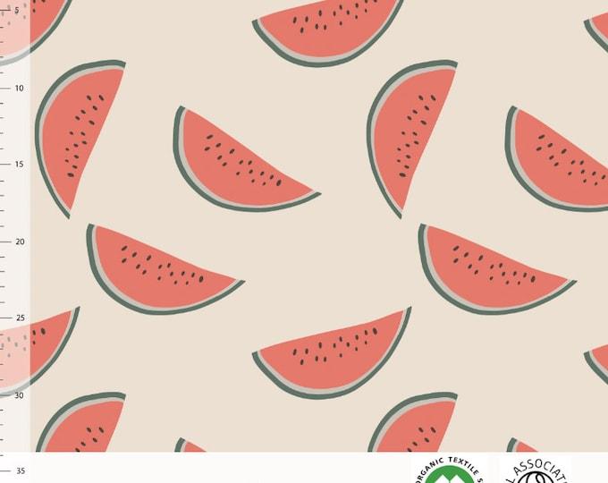 Biologische tricot stof met watermeloenen. Elvelyckan Watermelon Creme (027)