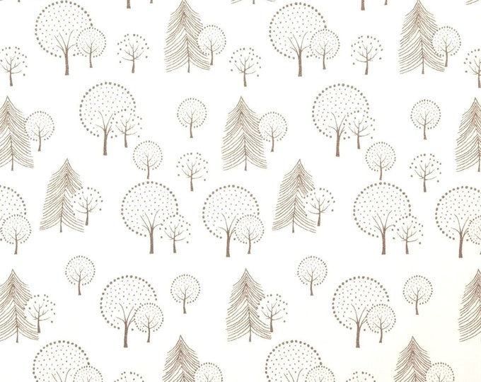 Wolwitte french terry stof met bomen. Swafing Mini Forest