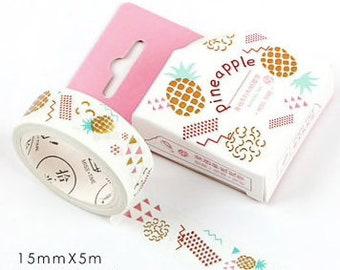 Witte washi tape met ananas en gold foil. Goud washi tape, fruit washi tape