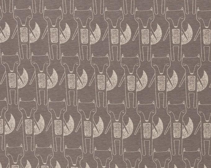 Ecru tricot stof met grijze vossen