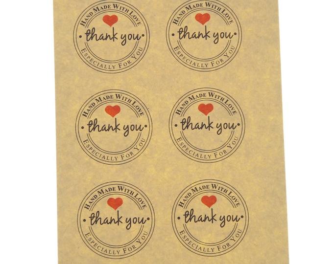 Ronde thank you stickers met hartje. Per 24 stuks.