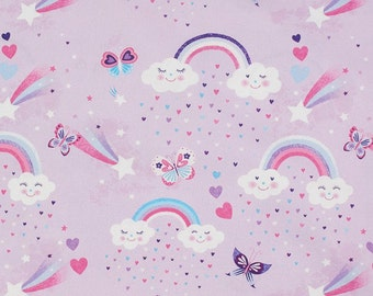 Lila katoen met regenbogen hartjes. Swafing Kim Clouds Lila cotton