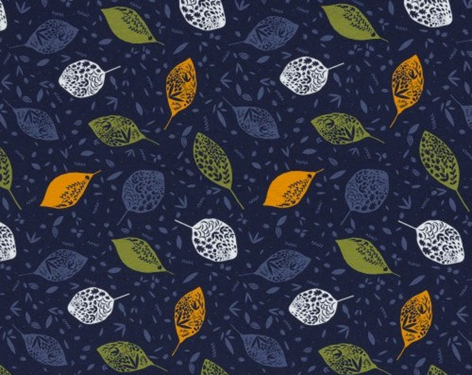 Blauwe french terry stof met blaadjes en takjes