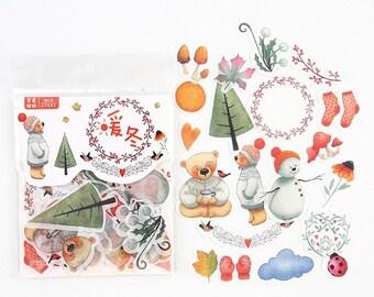 Winter stickers, 40 stuks. Beren stickers