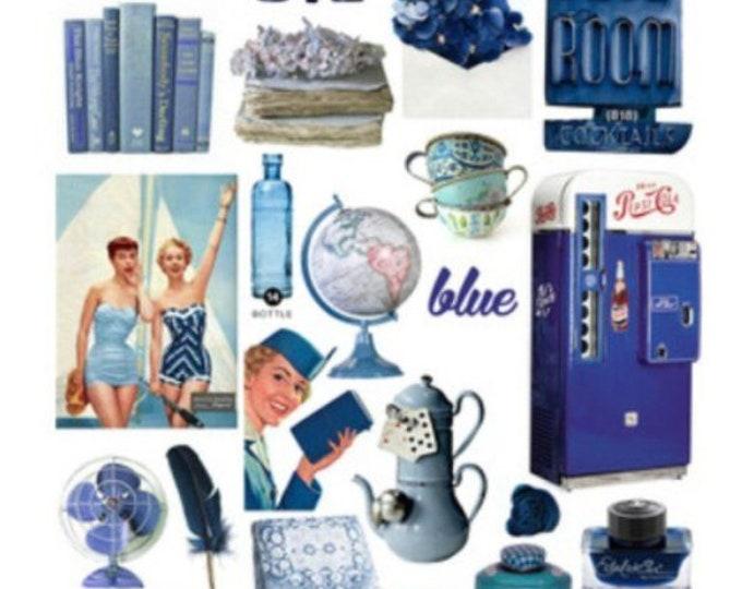 Retro sticker set, blauwe vinyl stickers, 22 stickers