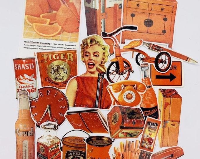 Retro sticker set, roodoranje vinyl stickers, 22 stickers