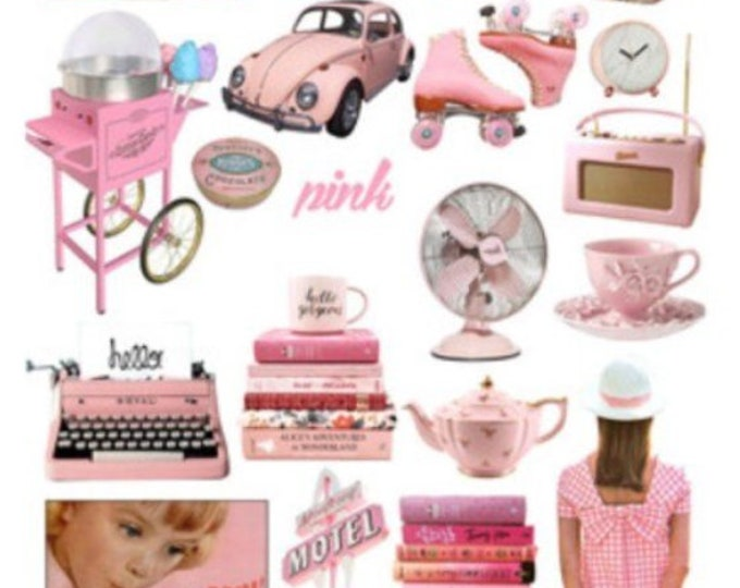 Retro sticker set, roze vinyl stickers, 21 stickers