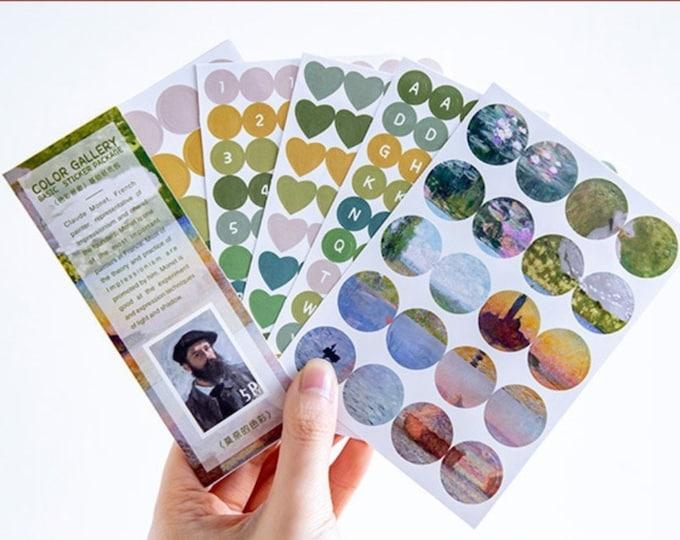 Agenda stickers, 5 velletjes Monet stickers, cijfer stickers