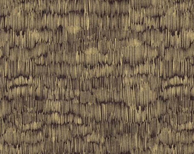 Donkerbruine katoen met gouden streepjes. Quilt stof