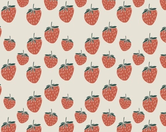Biologische tricot met aardbeien. Elvelyckan Strawberry Creme (027)
