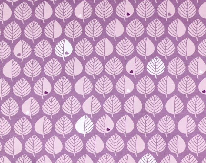 Paarse joggingstof met blaadjes en hartjes. Blätter by Graziela