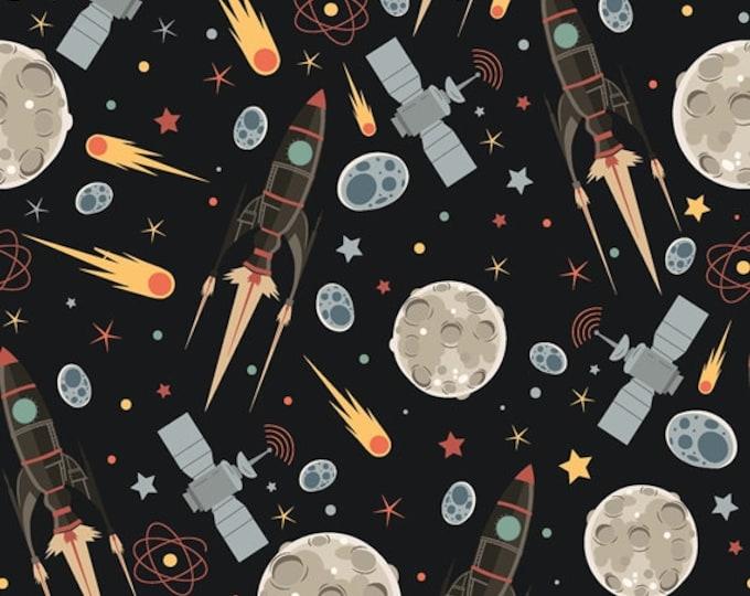 Zwarte tricot stof met raketten, planeten en sterren