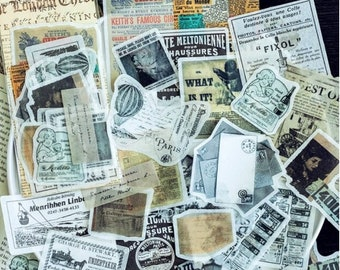 Retro advertentie stickers, vintage stickers, 60 stuks