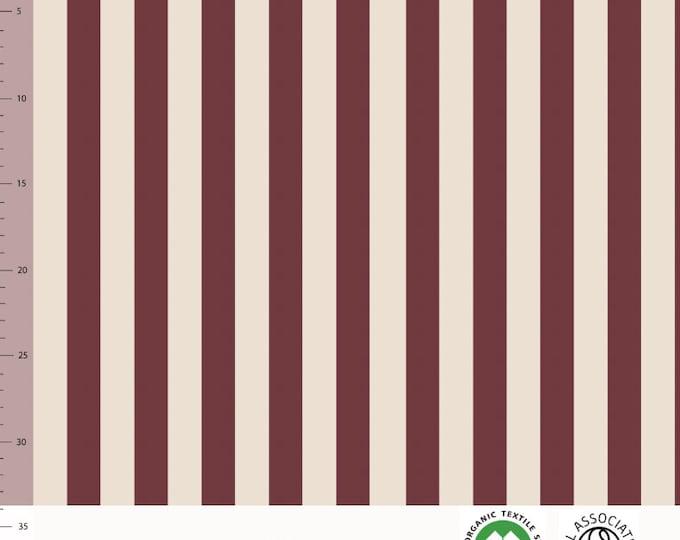Biologische tricot stof met verticale strepen. Elvelyckan Vertical Wine (013)