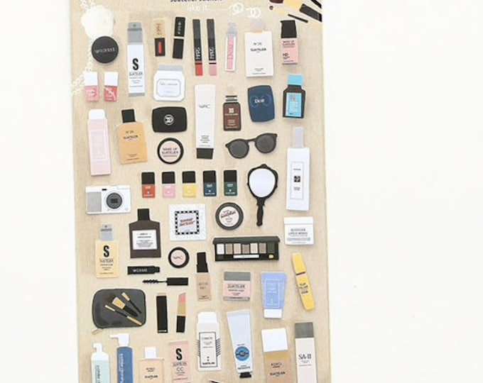 Make up stickers, agenda stickers, journal stickertjes, notebook scrapbooking stickers, nagellak, lipgloss, foundation stickers