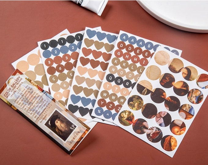 Agenda stickers, 5 velletjes da Vinci stickers