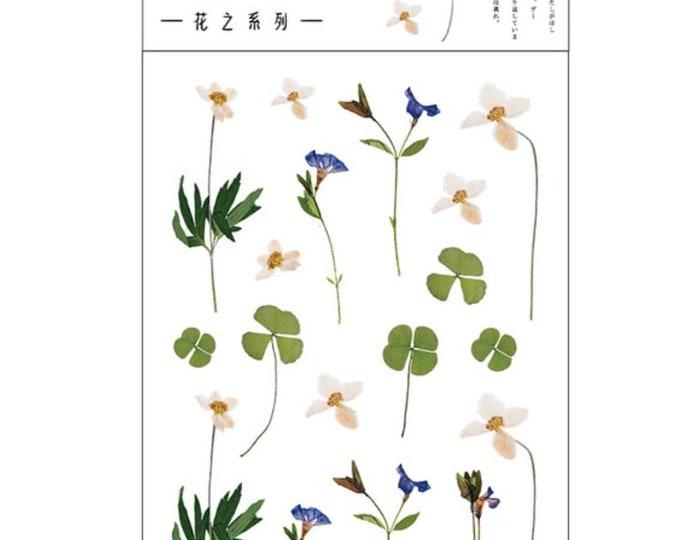 Witte bloemetjes stickers,  klaver stickers