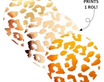Cheetah print stickers. 30 stuks. Goud foil stickers