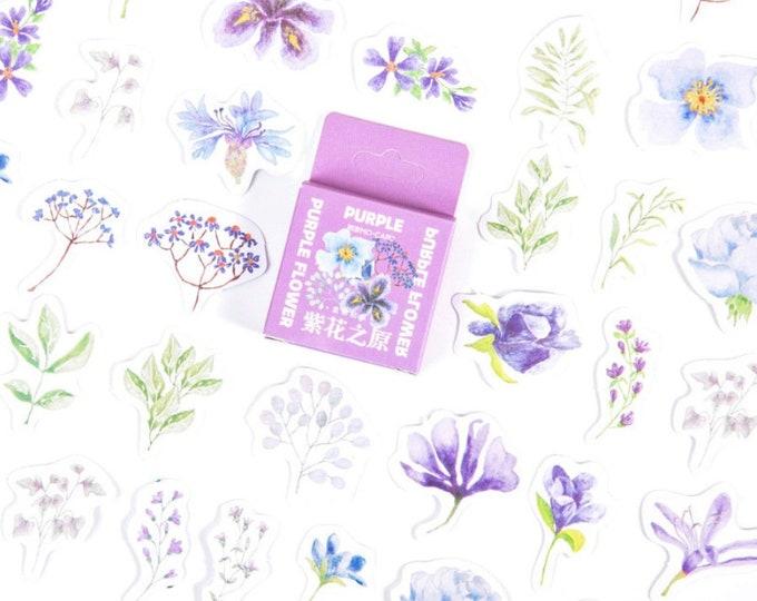 Paarse bloemen stickertjes
