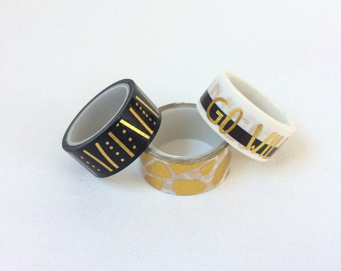Set van 3 washi tapes. Zwart en goud washi tape. print washi tape. masking tape, gold foil washi