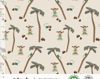 Biologische tricot stof met Pippi Langkous en palmbomen. Elvelyckan Pippi Långstrump