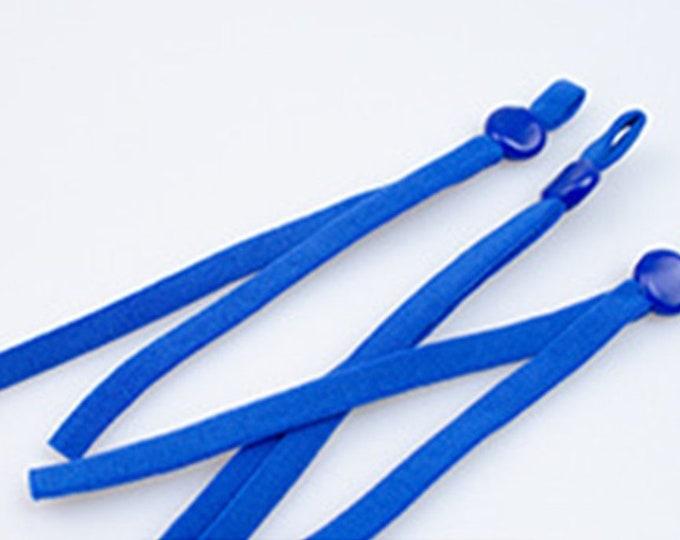 Elastiek voor mondkapjes, blauw. Per 10 stuks. Plat elastiek