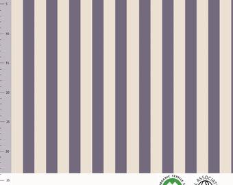 Biologische tricot stof met verticale strepen. Elvelyckan Vertical Purple (053)
