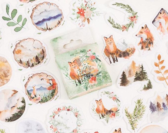 Herfst stickers met vossen, manen en bloemetjes
