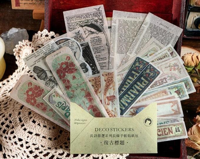 Retro boeken stickers. 40 stuks