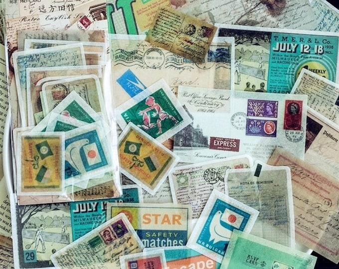 Retro brieven stickers, 60 stuks
