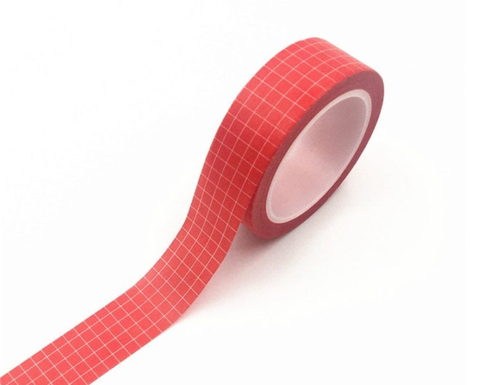 Rode washi tape met witte ruitjes. Masking tape, rood witte washi