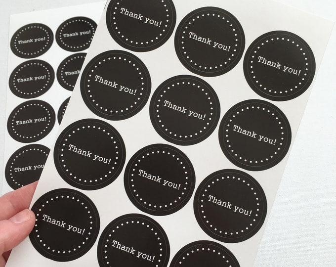 Ronde bedank stickers met stippen