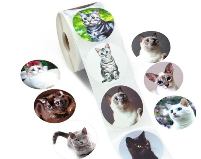 Kleine ronde katten stickers. Per 40 stuks