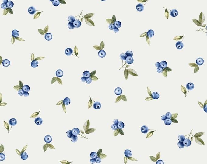 Witte tricot stof met blauwe bessen. Fruit tricot