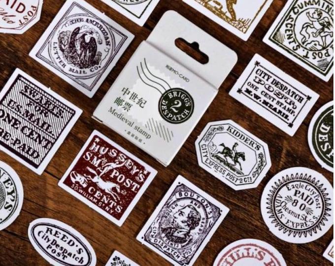 Retro postzegel stickers, 45 stuks