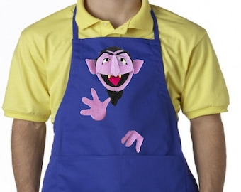 Count Von Count Adult Apron, Sesame Street Unisex Custom Apron, Your choice of 3 sizes!