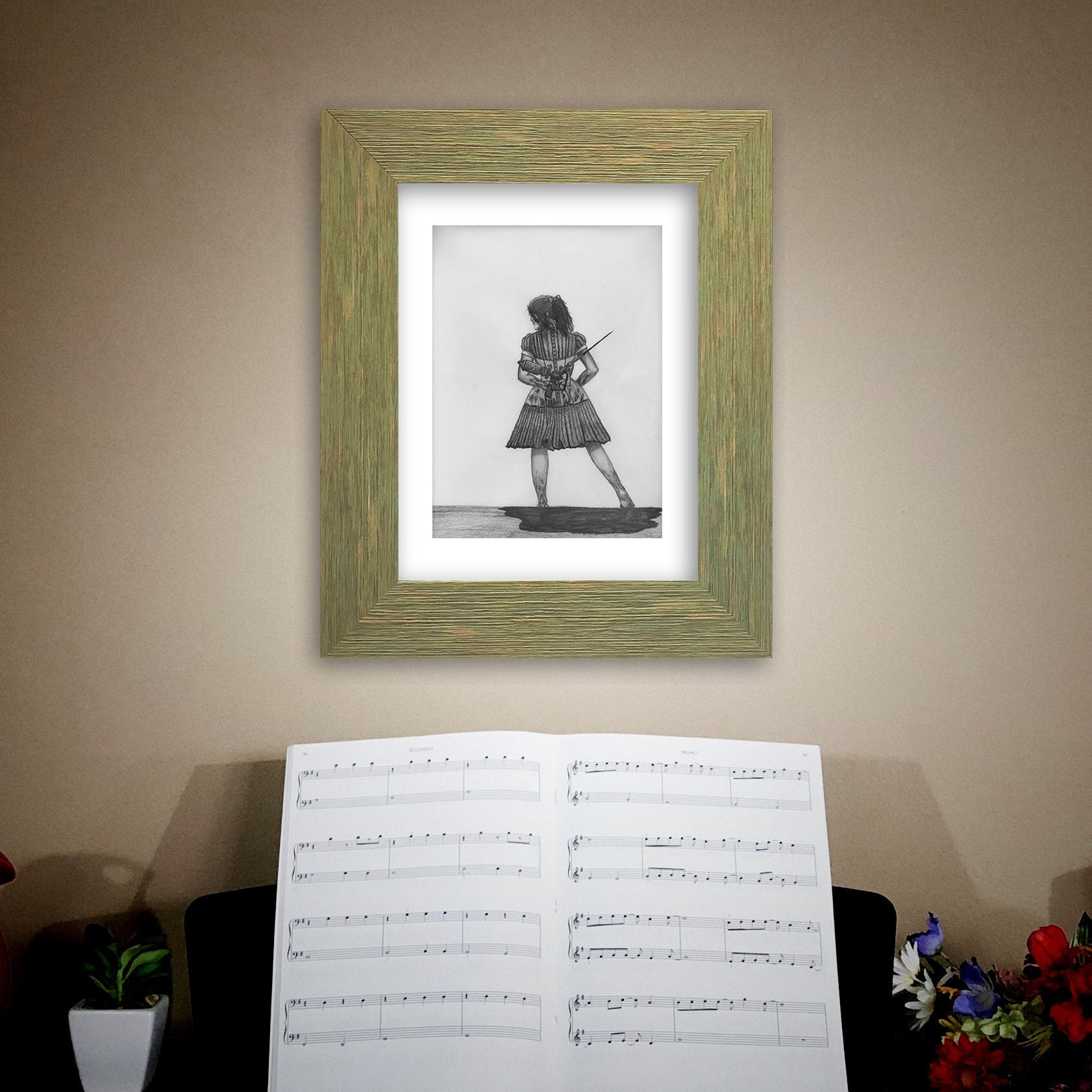 9x12 pencil drawing on paper little sister wall art home decor video game art bioshock original artwork not a print