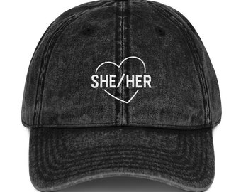 ed623d0f0ddfc7 She/Her Pronoun LGBT Pride Vintage Embroidered Cotton Twill Dad Baseball Cap