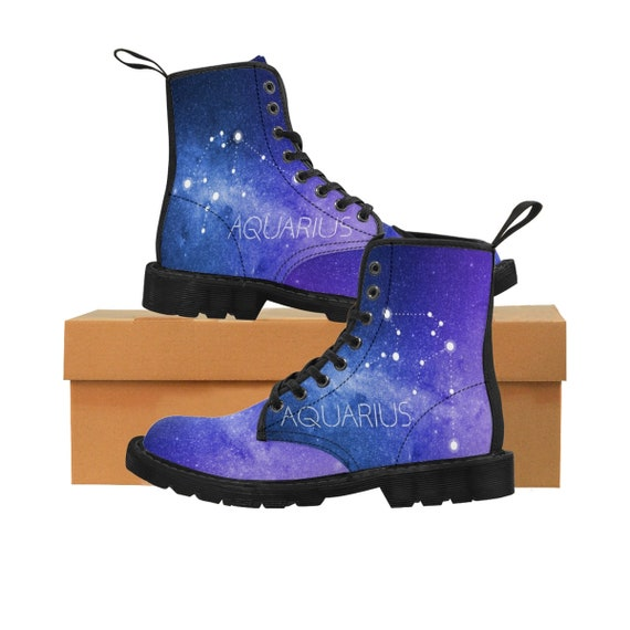 Martin bottes Verseau du Constellation, zodiaque hommes  chaussure astrologie, Horoscope, galaxie, Constellation, du espace, astronomie, botte de Combat Vegan, signe d'Air e69eb9