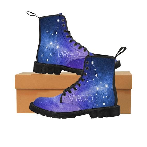 Martin bottes vierge du zodiaque hommes  chaussure astrologie, Horoscope, botte galaxie, Constellation, espace, astronomie, botte Horoscope, de Combat Vegan, terre signe ad26d8