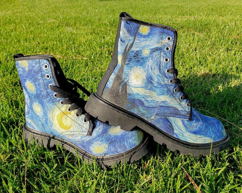 bdedde909 Starry Night Men's Martin Boots // Vincent Van Gogh shoe   Etsy