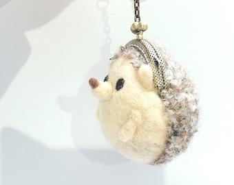 hedgehog/woolfelt/coin purse/kawaii/key ring