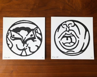Original linoleum lino block prints, set of 2, 8x8 square, Gay LGBTQ, Glory Hole