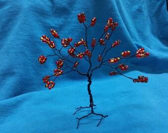 Autumn Oak, Tree of Life, Wire Tree Sculpture , Glass beads, Orange, Yellow