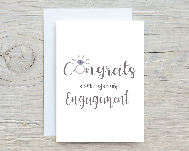 Cute congratulations card Happy couple engagement Personalised Congrats on Your Engagement Card You/'re Getting Married Card
