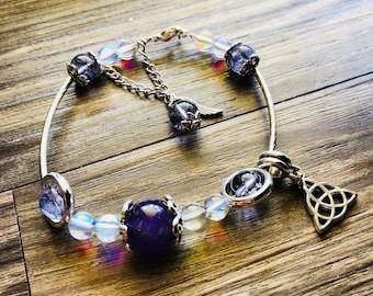 Amethyst, Moonstone and Ghosted Purple,Stretch Bracelet,Stones, Beaded Bracelet, Bracelet, Charm Bracelet, Gift, Gemstone, Jewelry