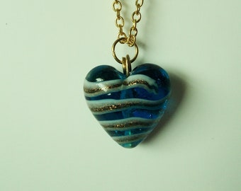 Blue and Gold Glass Heart on 18 Inch Gold Chain