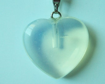 Translucent Heart on 18 Inch Silver Chain