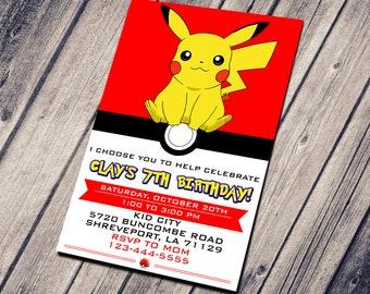 Custom pokemon card etsy pikachu invitation child invitation birthday invitation printable invitation custom card birthday card templates downloadable reheart Images