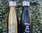 Stainless Steel Personalised Vacuum Water Bottle, Hot or Cold, Sports Bottle, Gym Bottle